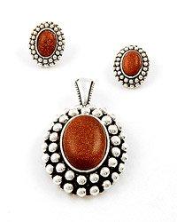 Antique Silver / Amethyst Gemstone / Post (earrings) / Pendant & Earring Set