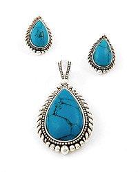 Antique Silver / Turquoise Gemstone / Post (earrings) / Pendant & Earring Set