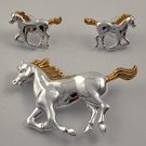 Gold & Silvertone Metal / Post (earrings) / Horse Pendant And Earring Set