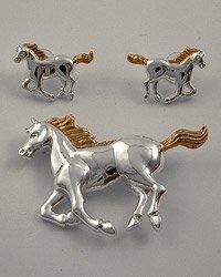 Gold & Silvertone Metal / Post (earrings) / Horse Pendant And Earring Set