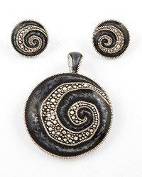 Silvertone Circle Pendant & Post Earring Set / Blue Epoxy And Detail