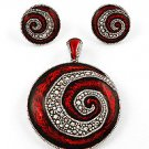 Silvertone Circle Pendant & Post Earring Set / Red Epoxy And Detail
