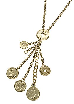 Six gold plated coins on a Chain