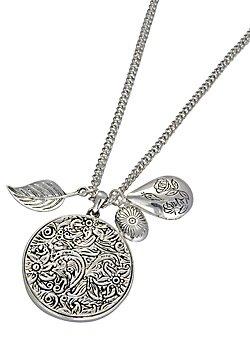 An etched floral disc pendant