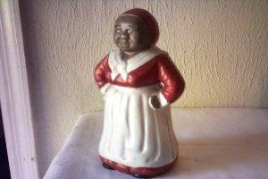 ANTIQUE AUNT JERIMIMA CAST IRON BANK - MAMMY W/ RED DRESS WHITE APRON