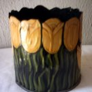 "TIN YELLOW TULIP PLANTER / VASE / FLOWER POT - 6 1/4"" TALL"