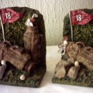 GOLF BOOKENDS 18TH HOLE - TWO GOLF BAGS WITH CLUBS