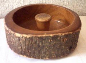"BARK NUT BOWL - WOODTURNED -  7 1/4"" IN DIAMETER - VINTAGE"