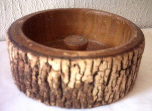 "WOODTURNED BARK NUT BOWL - 6 1/2"" IN DIAMETER - VINTAGE"