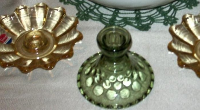Vintage Glass Candle Stick Holder - Mid 20th Century Made in the USA