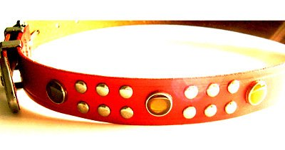 EMMANUEL RED LEATHER STONE STUDDED BELT WITH TOOLED SILVER BUCKLE Size S