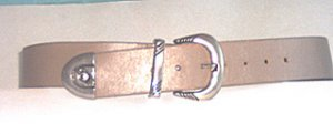 """1 3/4"""" TAUPE COWHIDE BELT WITH SILVER BUCKLE, KEEPER, TIP Small"""