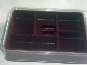 5 Section Burgundy Open Jewelry Box Tray