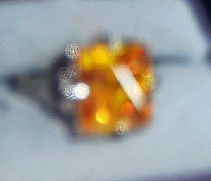 Brilliant SQUARE Faux Yellow Topaz Ring Size 6-7