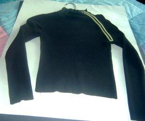 Black SILK Blend Sweater Green Shoulder Zipper Sm ++++