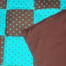 Turquoise and Brown Polka Dot Quilt