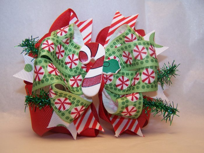 Boutique Candy Cane Christmas Hair Bow