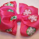 Boutique Pink Snowflake Christmas Hair Bow-Small