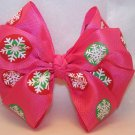 Boutique Pink Snowflake Christmas Hair Bow-Large