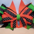 Funky Boutique Hair Bow: Layered Black, Orange, and Lime Green