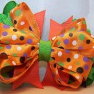 Boutique Orange, Lime Green, and Purple Hair Bow