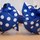 Boutique Blue and White Polka Dot Hair Bow with Paw Prints