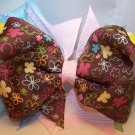 Boutique Light Blue and Brown Flower Hair Bow