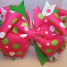Boutique Hot Pink, Lime Green, and White Hair Bow