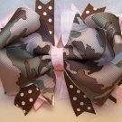 Boutique Camouflage and Light Pink Hair Bow