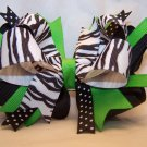 Boutique Lime Green and Black Zebra Hair Bow