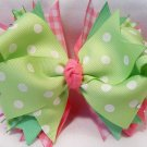 Boutique Pink and Green Hair Bow with Rhinestone Bling