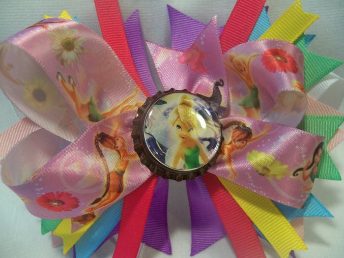 Boutique Tinkerbell and Friends Bottle Cap Hair Bow