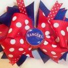 Boutique Texas Rangers Bottle Cap Hair Bow