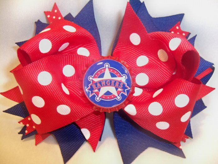 Boutique Texas Rangers Bottle Cap Hair Bow