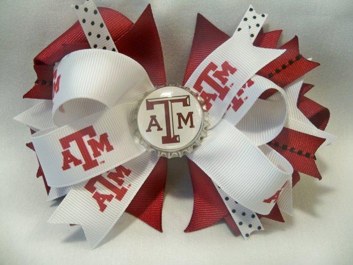 Boutique Texas A&M (Aggie) Bottle Cap Hair Bow