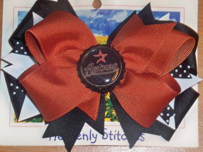 Boutique Houston Astros Bottle Cap Hair Bow