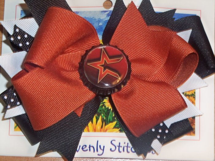 Boutique Houston Astros Bottle Cap Hair Bow