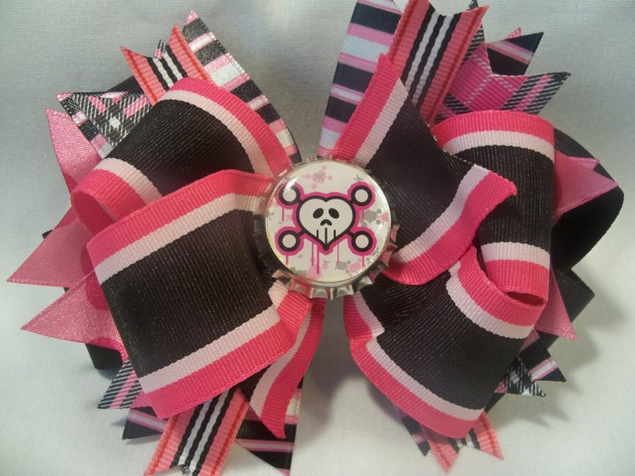 Boutique Pink Punk Rocker Skull Hair Bow