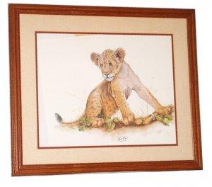 "Jim Oliver wildlife print ""Lion Cub"""