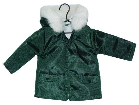 Green Parka Christmas Ornament w/ Faux Fur Trimmed Hood & Wire Hanger