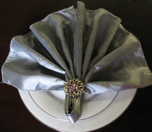 Rhinestone Flower  Napkin Ring with Napkin (Set of 4)