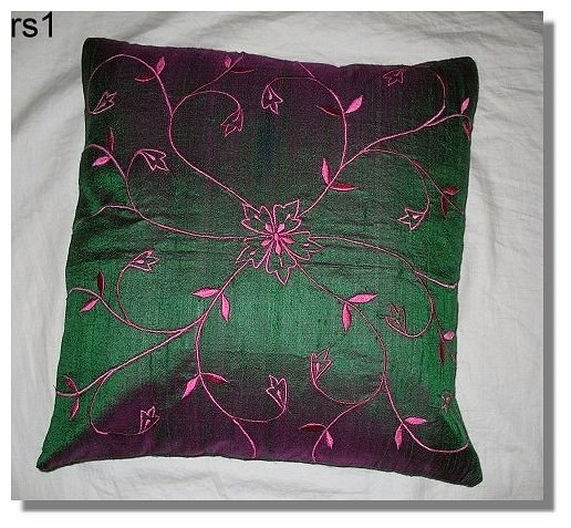 Green Embroidered Raw Silk Cushion Cover ( rs1) Set of two