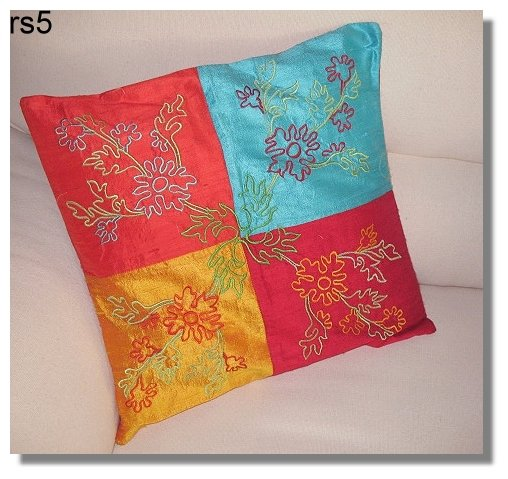 4 Colour ( orange, blue, red, yellow) Embroidered Raw Silk Cushion Cover ( rs 5) Set of two