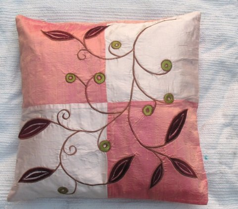 Pink and Salmon Pink Embroidered Raw Silk Cushion Cover ( rs 6) Set of two