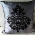Gray and Black Damask Embroidered Cushion Cover (set of 2)