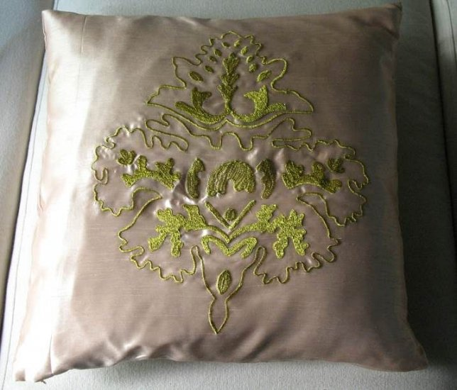 Gold Damask Embroidered Cushion Cover
