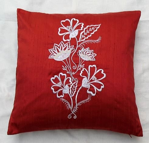 Simply  luxury  rust red raw silk cushion cover rs 067