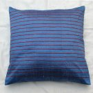 Simply  luxury blue raw silk cushion cover with stripes rs 083