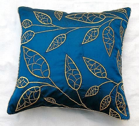 Purely  Silk Teal Blue Cushion cover with gold leaf embroidery