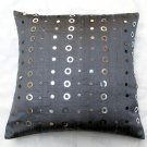 Sequin Sensation gray rawsilk cushion cover